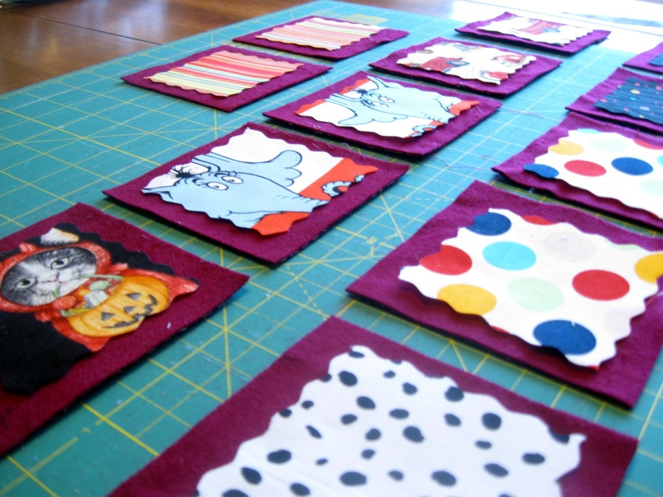 Memory game in progress. I am SO thrilled about how this turned out, I'm not sure I can even expreess it in words.