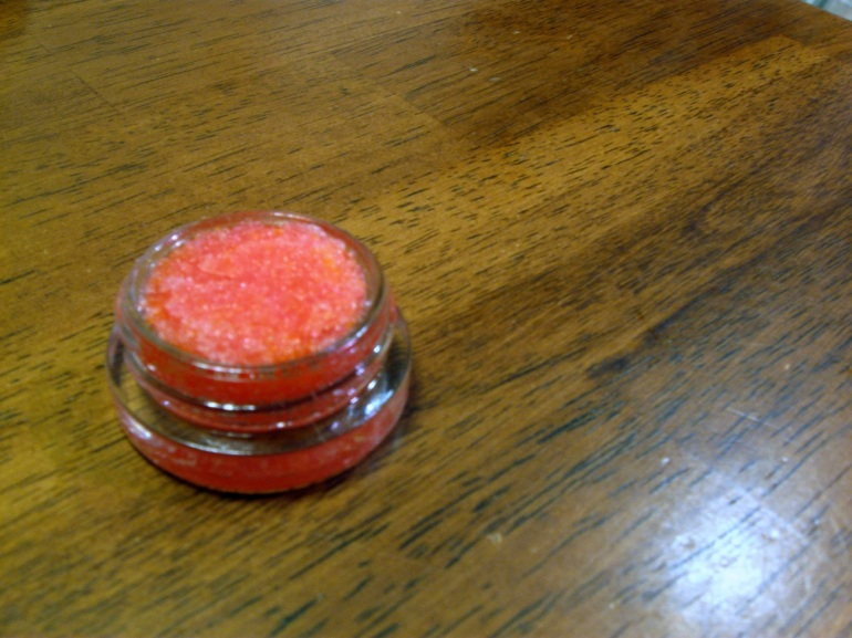 One win for the night... awesomely yummy orange sugar lip scrub. And there was enough left over for me!