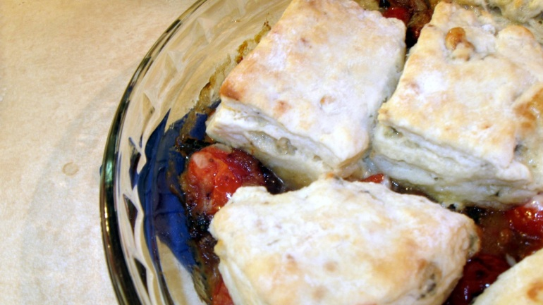 Amazing tomato cobbler, made superfast and devoured only a bit slower. Get the recipe from my favorite food blog, Joy the Baker.