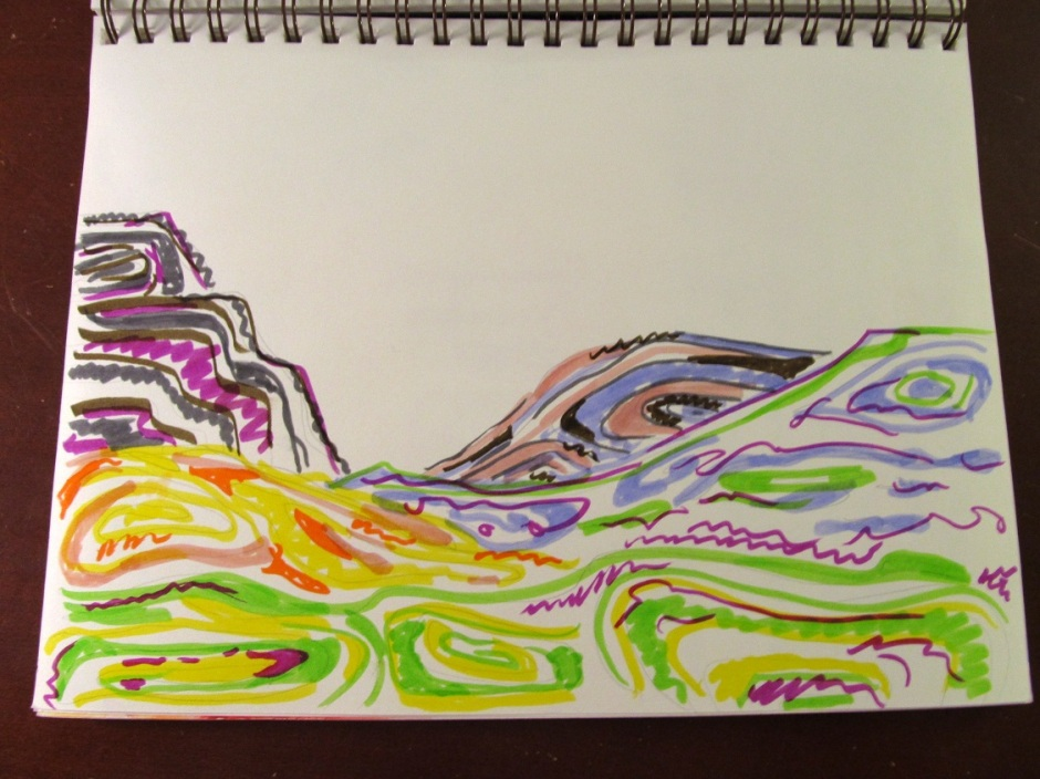 Just a simple marker doodle I did before bed one night this week. This took about fifteen minutes, then I put it down.