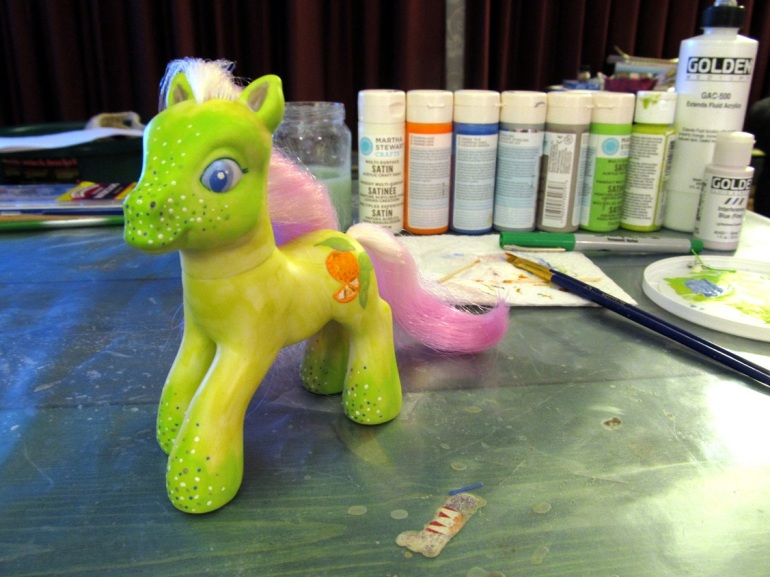 A finished pony and all the paint it took to make her!