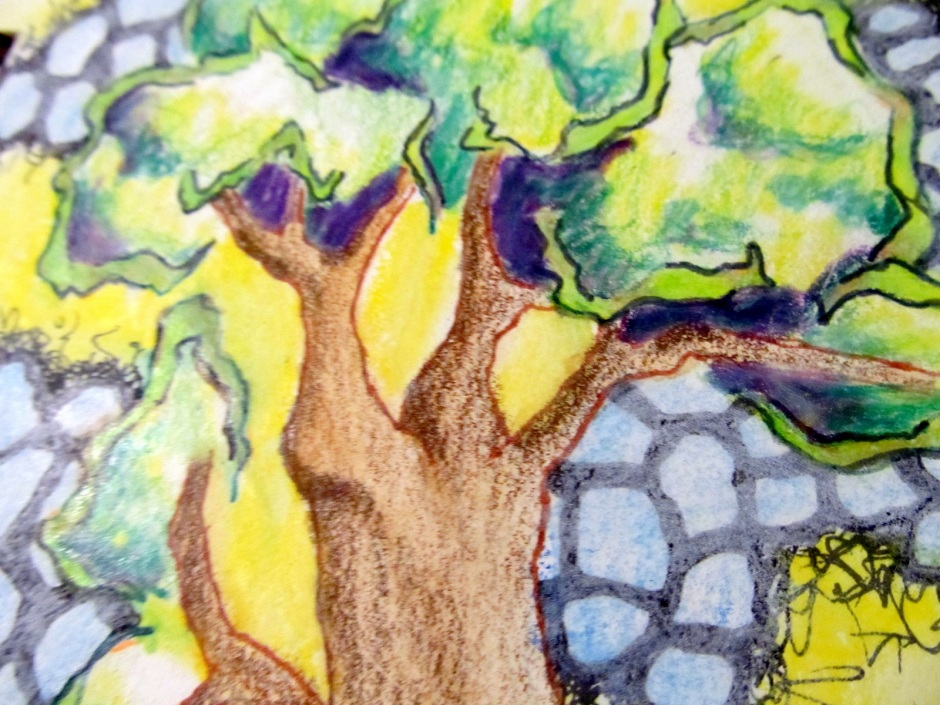 I love drawing trees and I love lots of color. Easy to see why this detail is my lead picture today.