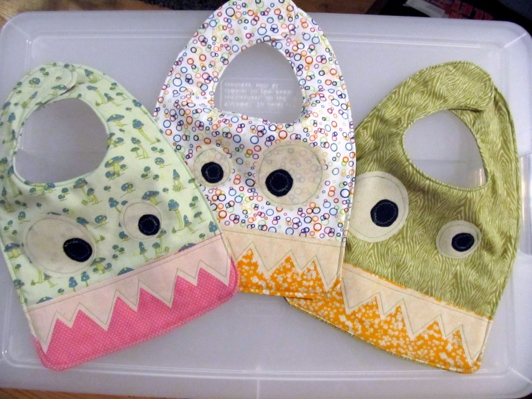 Bibs! Check out the tutorial on Stubbornly Crafty.
