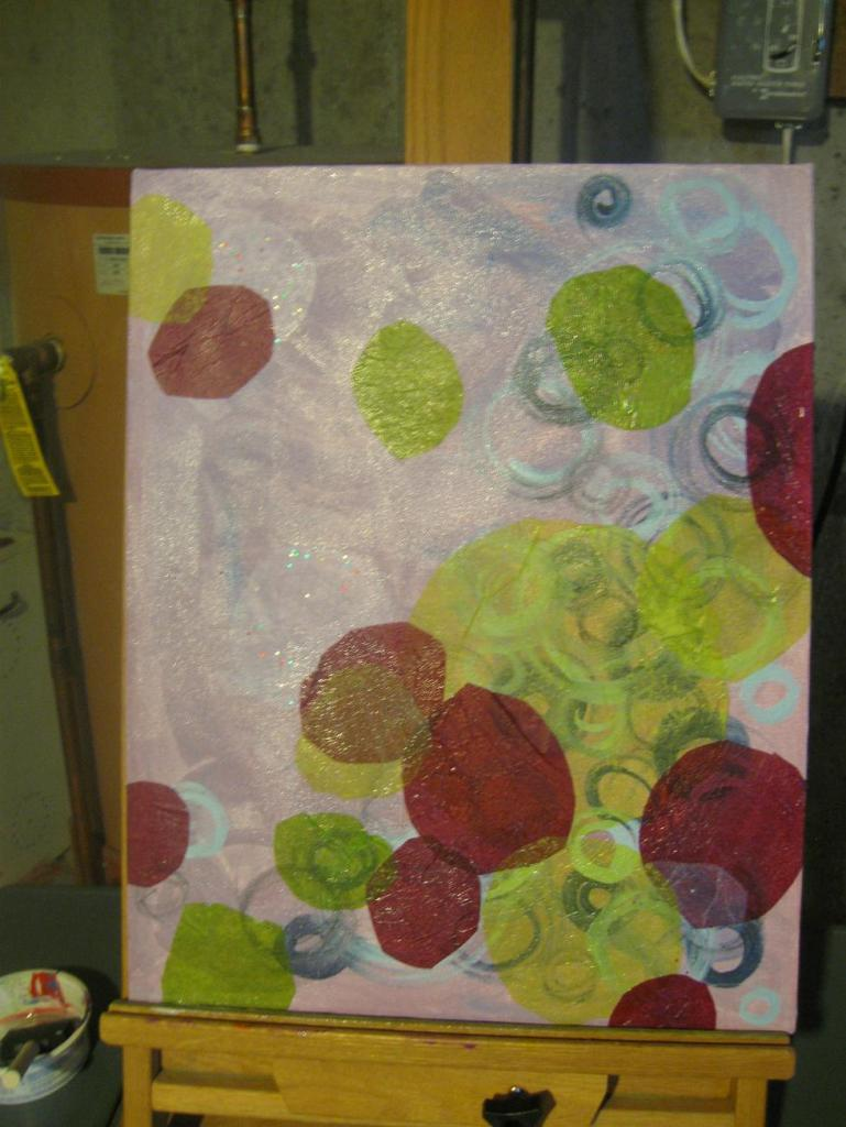 Layers of acrylic and tissue paper make a great base. Now I just need to add drawings and more paint.