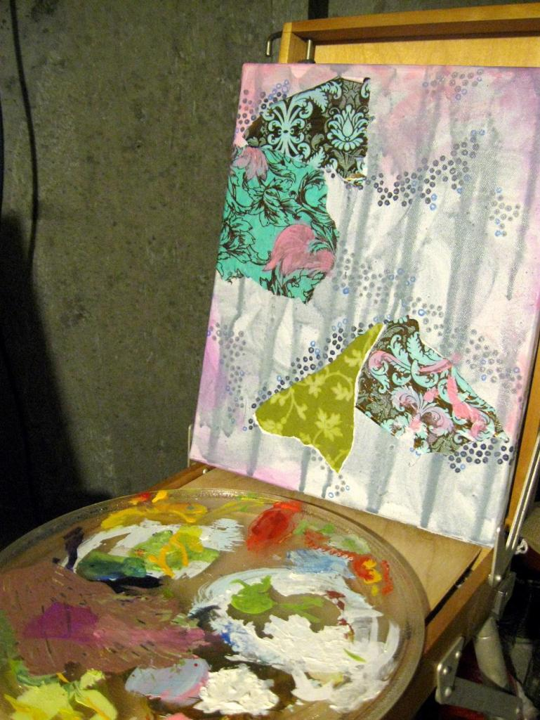 Nothing has changed on this canvas since the last post. But next up, some layers of white flowers (I think).