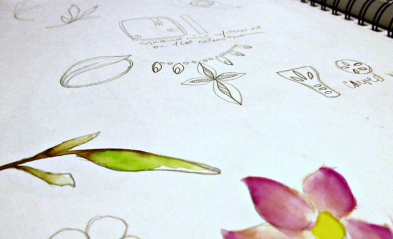 Some quick, rough sketches of jewelry (and apparently flowers) that have been in my head.