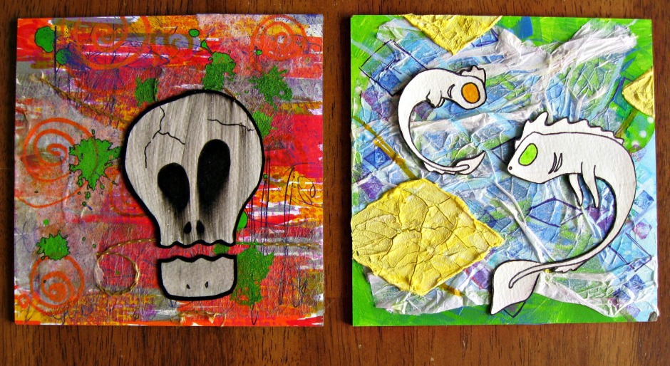 """Two collage pieces that are now in my Etsy shop. These are the two I will outline in more detail next week. The one on the right won't be sold since my daughter almost cried about how much she """"loves the dragons"""". Darn kids and their cuteness."""