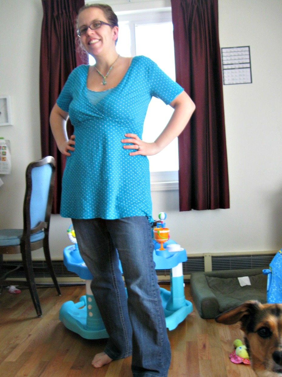 I made a nursing shirt! I used Megan Nielsen's Perfect Nursing and Maternity shirt pattern with some alterations (since I am NOT pregnant). Then, to make sure the shirt looks really realistic, I let my four year old take a picture of me in it. She was much more worried about making sure the dog was in the frame than that the camera was straight. If you can believe it, this is way better than the picture I took of myself wearing it.