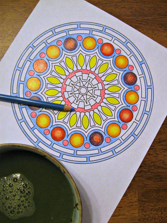 I needed something creative that required no critical thinking so my mind could wander. Mandalas are always the answer in that case. I got this one from Print Mandala. Add a soup bowl full of matcha and TBTL, and we are all set.