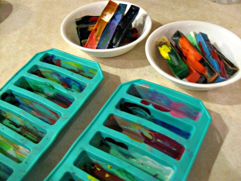 My kid and I baked crayons. Kudos to my mom for finding the perfect silicone molds for $1.