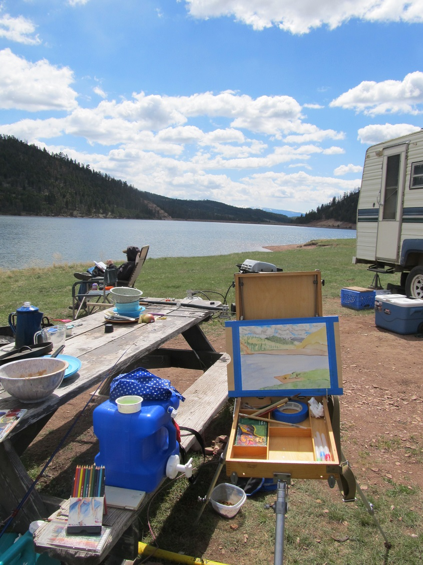 This year for Mother's Day, I got a camping trip. And as an added bonus, the kiddos slept long enough I coudl actually road test my new travel easel. Just a plain, good day.