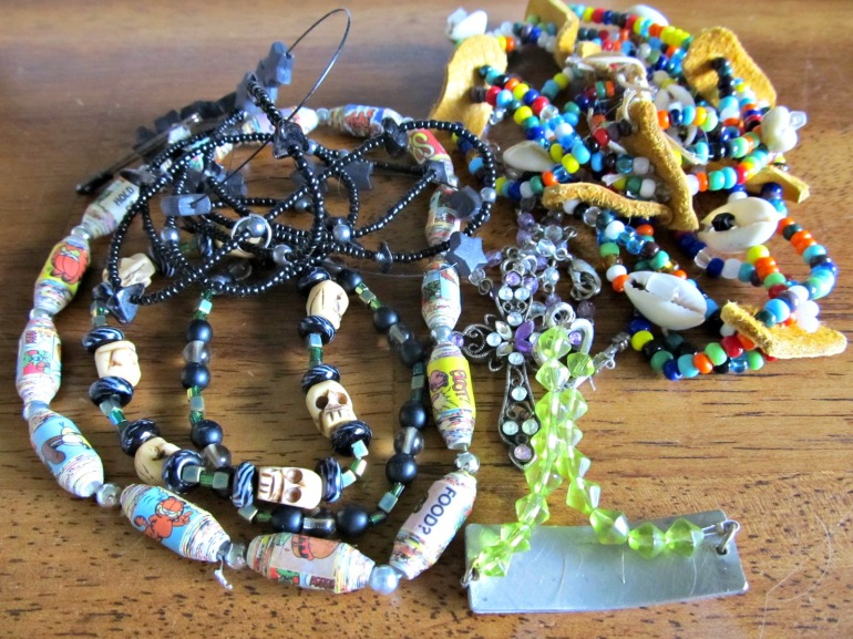 Skull beads, paper beads, glass beads. Stuff I would pay good money for in a store. So why not make good use of them.