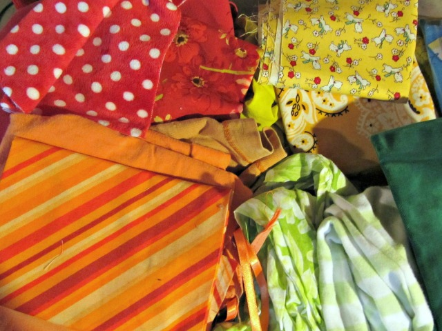 Reds, oranges, yellows and greens.
