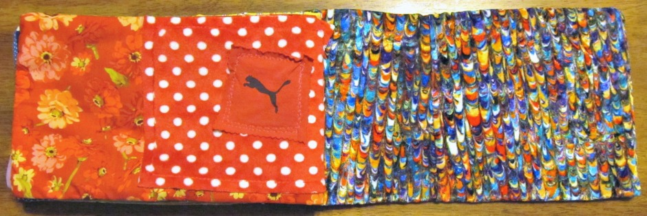 Red page: cotton, minky and another scrap from a tee.