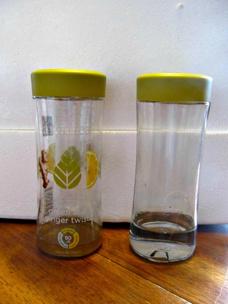 On the left, the Argo tea bottle with the label intact. On the right, a clean bottle out of my fridge rotation.