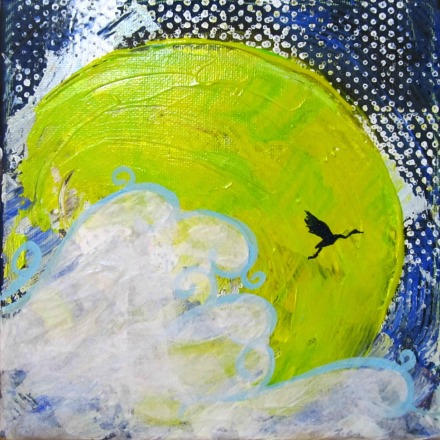 Crane Moon, acrylic mixed media, 2015